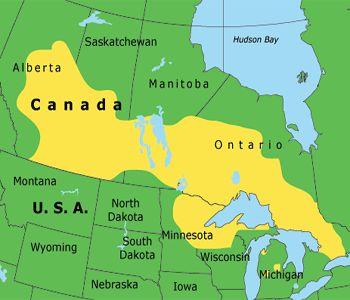 Area where the Anishinabe/Ojibwe/ Chippewa People live.