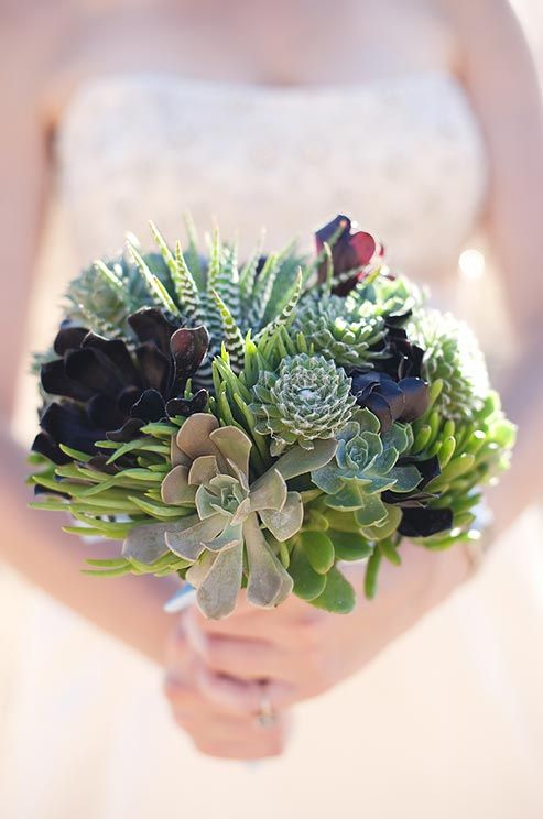Forgo flowers for a bouquet comprised solely of different succulent varieties.