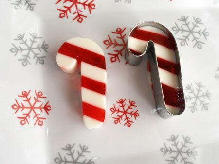 Place Candy Cane Jello Shots on a Plate