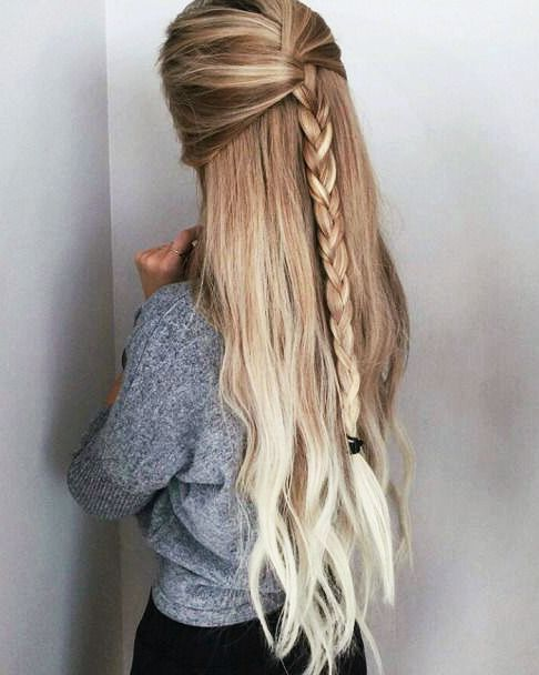 Long Half Up Braid.
