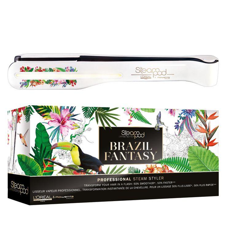 Der Steampod Brazil Fantasy ist das neuste Limited Edition Steampod Modell von L'Oréal Professionnel und wurde zusammen mit dem Rowenta Salon zur einfachen Haarglättung und für das Haarstyling entwickelt.