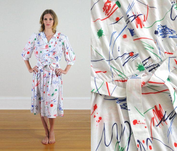 Vintage zomer jurk 80s verf splatter jurk wit dag jurk flare rok riem stropdas taille korte 3/4 mouw kraag Californië kijkt door LockedRoomMystery op Etsy https://www.etsy.com/nl/listing/208107213/vintage-zomer-jurk-80s-verf-splatter