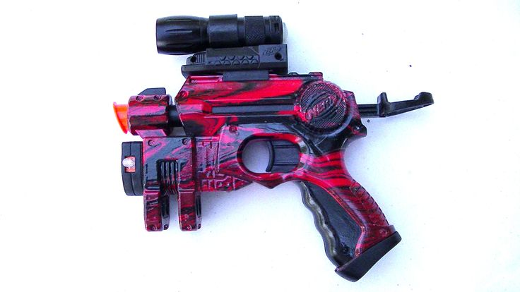 A red and black painted Nerf Nite Finder with a flash light attachment.