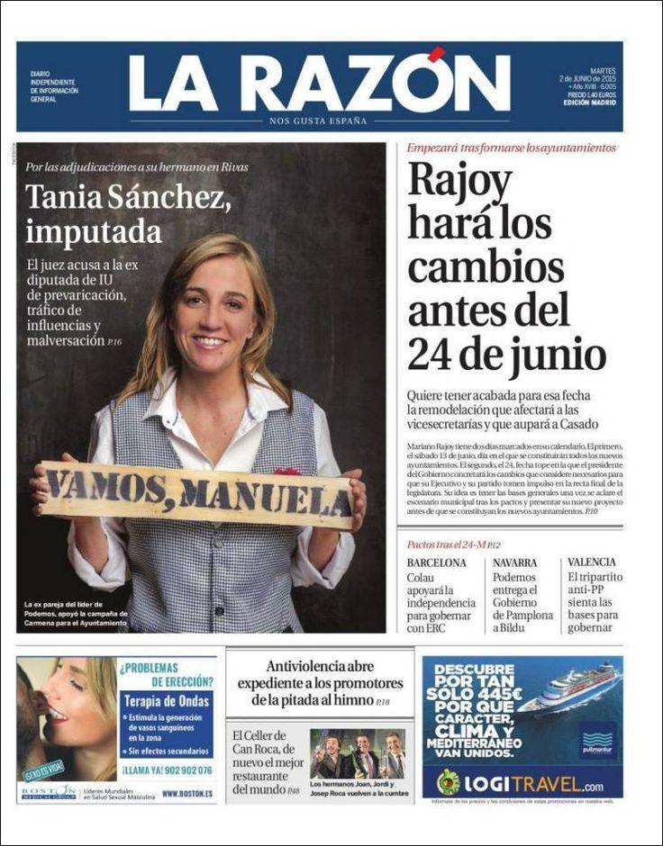 Portada de La Razón tras la imputación de Tania Sánchez en plena campaña electoral de las municipales. Apenas unas semanas después el juez daría el caso por sobreseido
