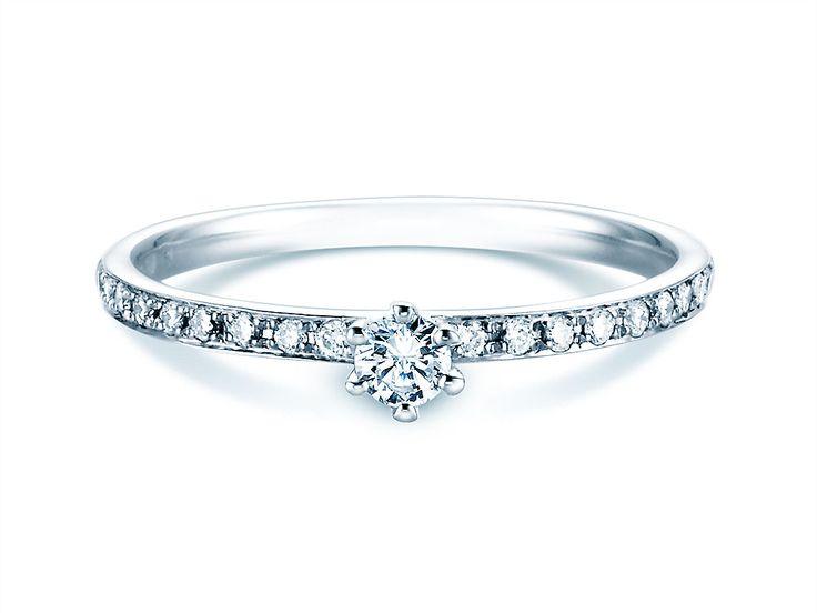 Verlobungsring Classic Pavé mit Diamanten 14K Weißgold (585/‑)