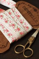 Paris Flea Market Chic French Jacquard Ribbon PINK Roses  found at Nanalulus Linens and Handkerchiefs