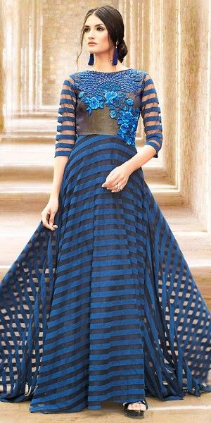 Enticing Blue Satin Embroidery Gown.