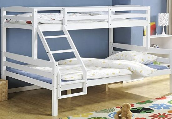 Northshore White Wooden Triple Bed Single over Double Bed , Triple Sleeper Hastings White Pine frame Triple bed featuring a double bed(46) on the bottom and a single bed on the top.Unfortunately due to the size of the item we are unable to ship to Sco (Barcode EAN = 5060300820789) http://www.comparestoreprices.co.uk/bunk-beds/northshore-white-wooden-triple-bed-single-over-double-bed--triple-sleeper-hastings.asp