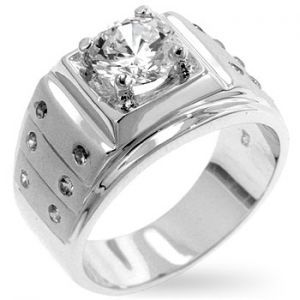 Men's Iron Man Frosted 14K White Gold Simulated Diamond Ring