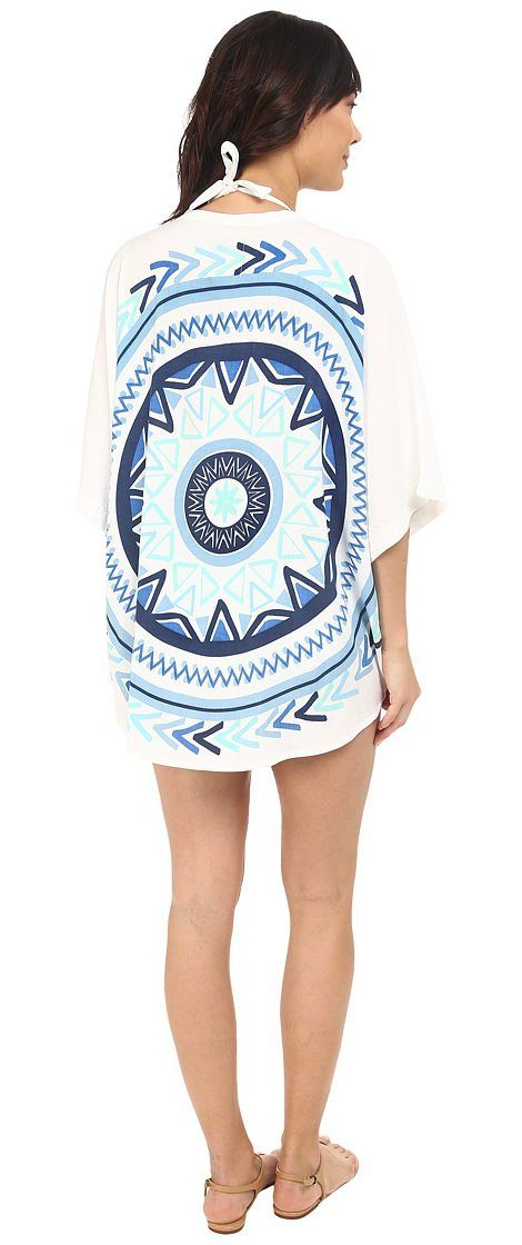 Plush Soleil Sundial Beach Pareo (White/Blue) Women's Swimwear - Plush, Soleil Sundial Beach Pareo, RB102, Apparel Top Swimwear, Swimwear, Top, Apparel, Clothes Clothing, Gift - Outfit Ideas And Street Style 2017