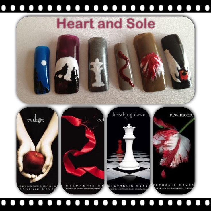 Twilight hand painted nail art
