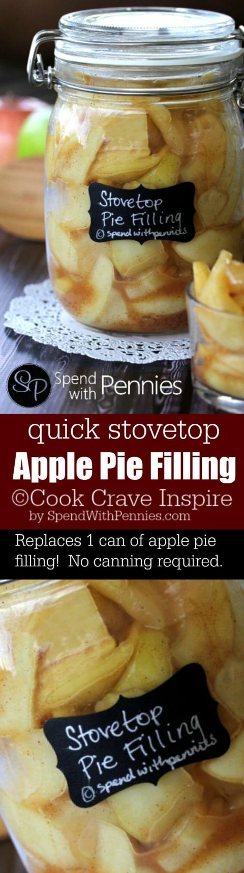 Easy Apple Pie Filling on the stove top!  This apple pie recipe replaces the usual canned apple pie filling and tastes so much better!