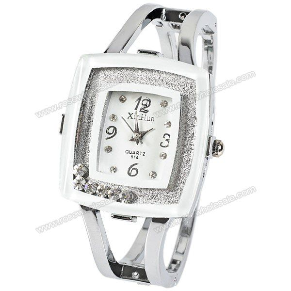 Wholesale XinHua Women Watch with 4 Numbers and Dimond Dots Indicate Steel Watchband (White) (WHITE), Women's Watches - Rosewholesale.com