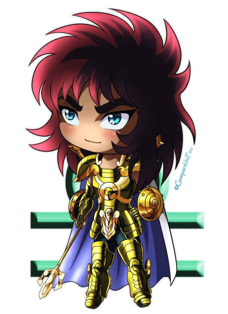 Hello, guys! I continue my training about chibi and I've decided to create a little series about Gold Saints of Saint Seiya! ^^ Here's our little Chinese Saint, Libra Dohko! And the green thing behind...