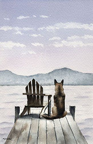 "Best price on ""German Shepherd"" Dog Art Print Signed By Artist Dj Rogers…"