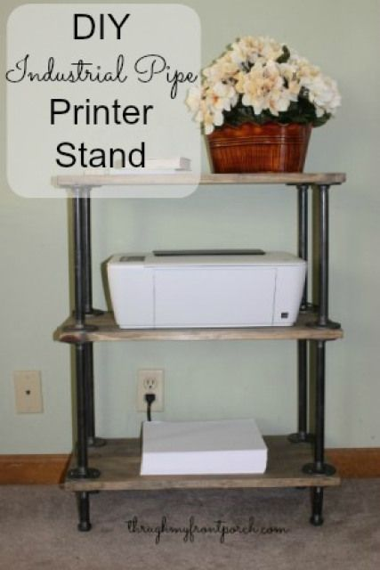 DIY Pipe And Wood Printer Stand - Through My Front Porch                                                                                                                                                                                 More