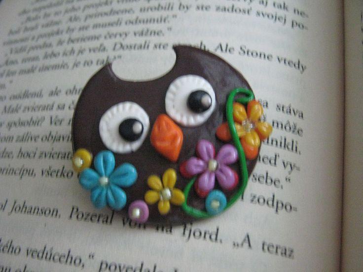 Polymer clay owl brooch