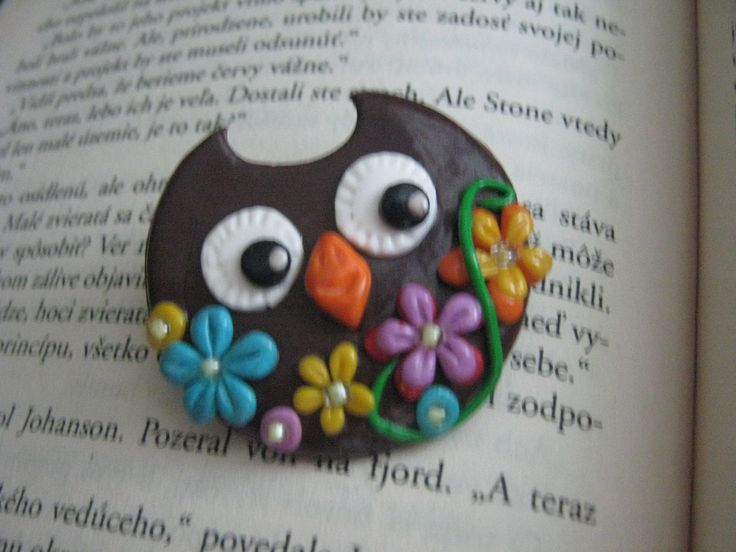 Polymer clay owl brooch