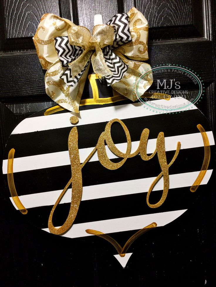 Christmas Door Hanger- Black and White Door Hanger, Gold Door Hanger, Stripped Door Decor, Black and White Decorations, Joy Door Hanger by MJCreativeDesign on Etsy https://www.etsy.com/listing/481258960/christmas-door-hanger-black-and-white