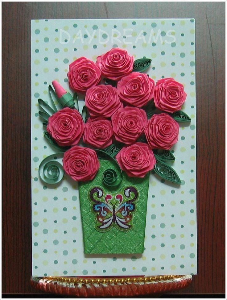 Открытка с розами из квиллинга своими руками, днем