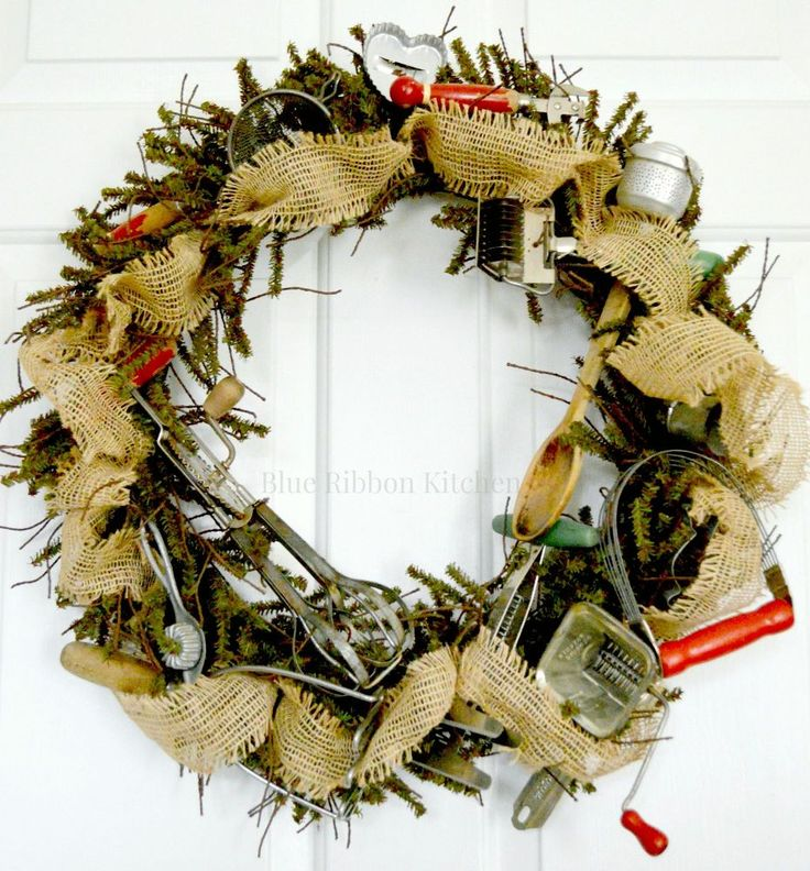 Vintage Kitchen Tool Wreath.  For kitchen wall.