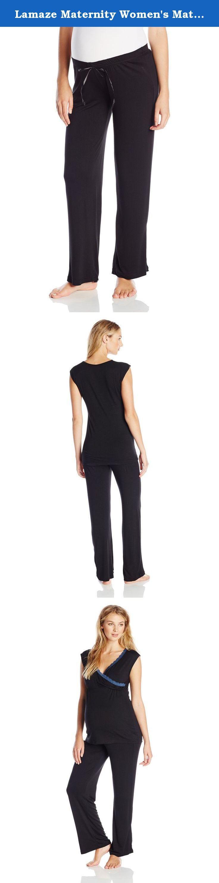 Lamaze Maternity Women's Maternity Short Sleeve and Pant Pajama Set, Black, Large. Rayon spandex maternity sleep pant set.
