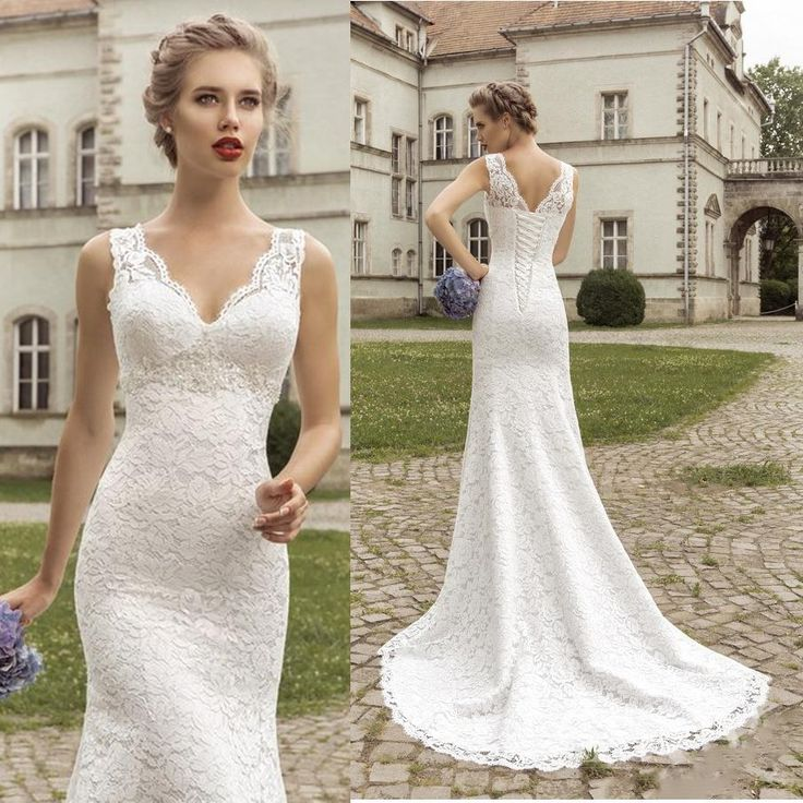 2015 Simple Classic Delicate V Neck Sheer Lace Slim Wedding Dresses with Straps…