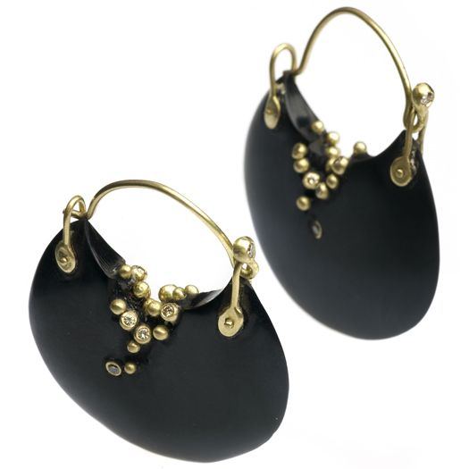 Hand carved Whitby jet earrings with 18CT gold granulation and champagne diamonds. by Jacqueline Cullen