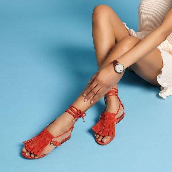 Women's Orange Lace Up Fringe Sandals Open Toe Cute Beach Shoes
