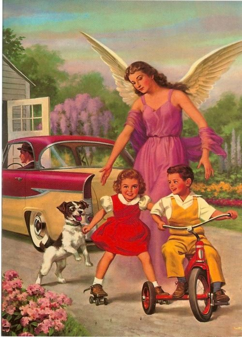 : Vintage Postcards, Vintage Wardrobe, Guardians Angel, Funny Stuff, 1950S Vintage, 1950 S, Angel Vintage, Kid, Vintage Cards