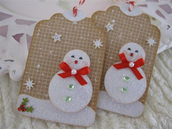 "Frosty Snow Glittery Christmas Cute Snowman Tags ""love the grid behind"""