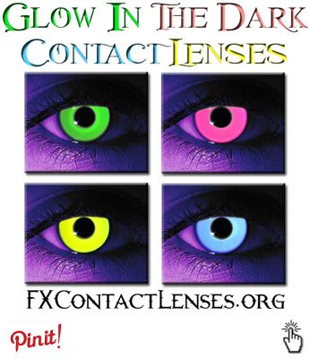 http://fxcontactlenses.org/glow-in-the-dark-contacts  Glow in the dark contacts - A fun novelty to wear to clubs, raves, or general nightlife partying.  Also called *rave contacts*, it's impossible to not have fun while wearing these dancing, or partying under a UV/black-light.  Available in blue, green, yellow & pink colors.  Click link above to learn more.
