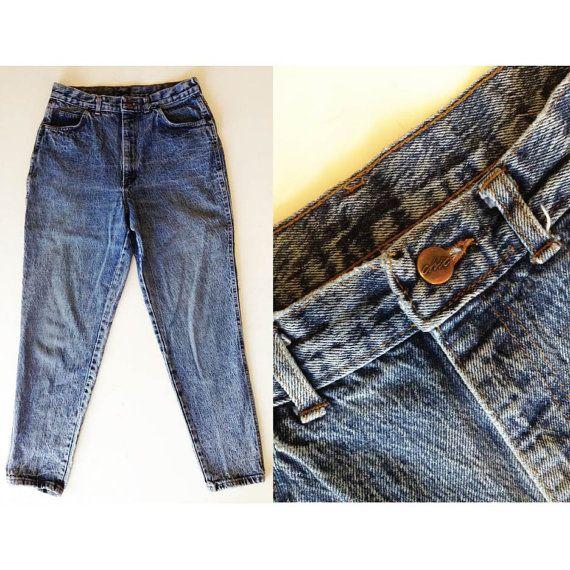 Vintage 80s Chic Jeans // Acid Wash High Waist Denim Jeans // Women's Peg Leg Hipster Pants Stonewash Jeans // Made in USA Size 12