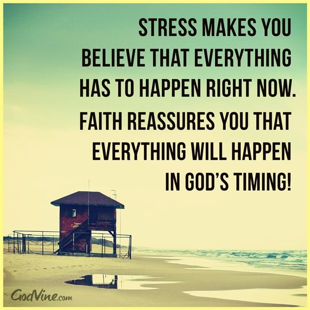 Don't Stress, Trust God's Timing - Inspirations, and take life one day at a time, one task at a time.