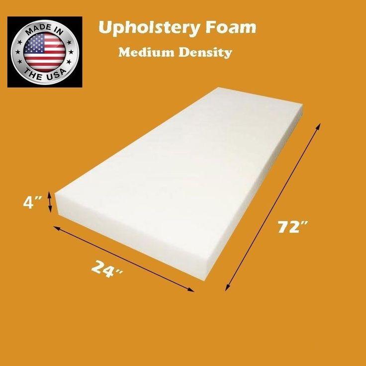 "Medium Density FoamTouch Upholstery Foam Cushion 4"" X 24"" X 72""  #FoamTouch"