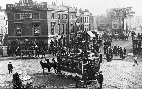 London, Elephant And Castle 1885. This crowded region south of the river was once the heart of #London cockney life. The Elephant and Castle, a great meeting place of thoroughfares, was termed a 'ganglion of roads' by Dickens in 'Bleak House'.