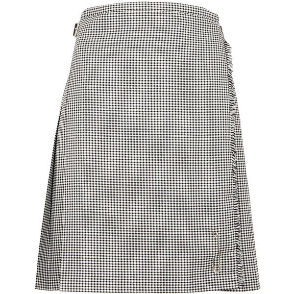 Le Kilt Classic houndstooth wool kilt (765 CAD) ❤ liked on Polyvore featuring accessories