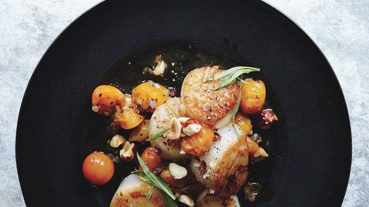 Scallops with Hazelnuts and Warm Sun Gold Tomatoes Recipe | Bon Appetit