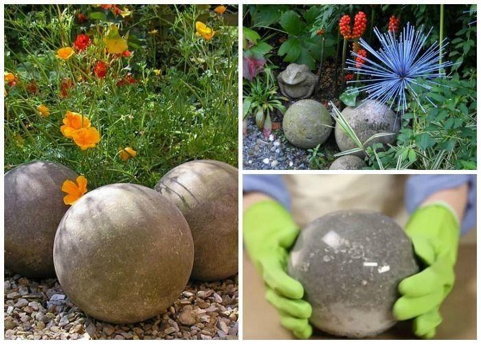 Bricolage Apprenez A Fabriquer Des Boules De Jardin En Beton Video Avec Images Jardin En Beton Feuilles En Beton Decoration Jardin