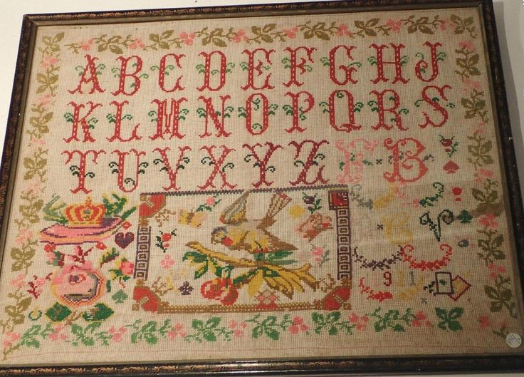 An Early 20th Century FRENCH Sampler Dated 1921 ~ Marquoir 1921 (M)