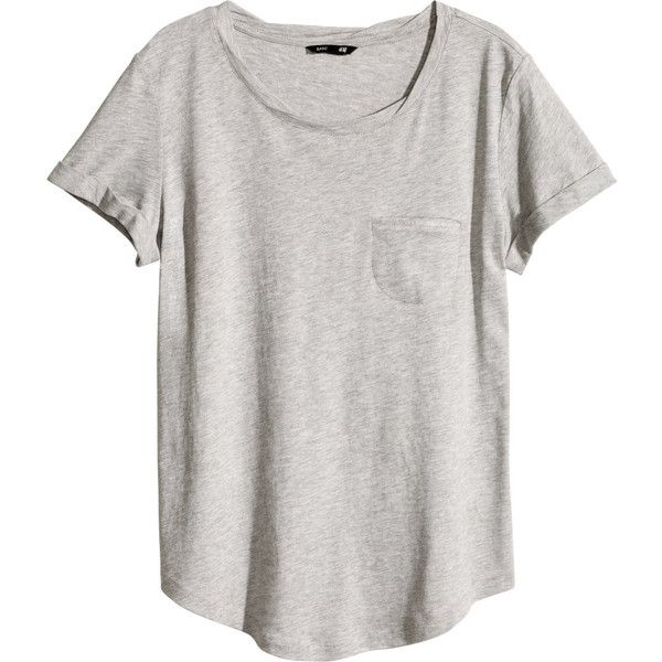 Top in soft slub jersey with a slightly twisted neckline, one breast pocket, short sleeves with sewn-in turn-ups, and a rounded hem. 48% cotton, 52% modal. Mac…