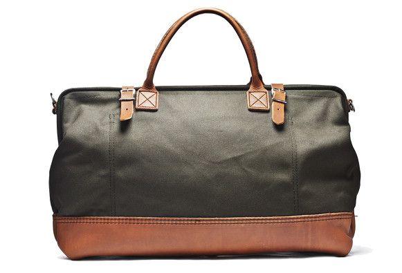 Canvas & Leather Weekender Bag (Olive) - Kaufmann Mercantile $229 USD