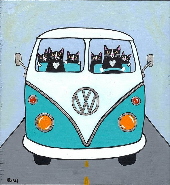Teal Volkswagen Bus Original Cat Folk Art Painting