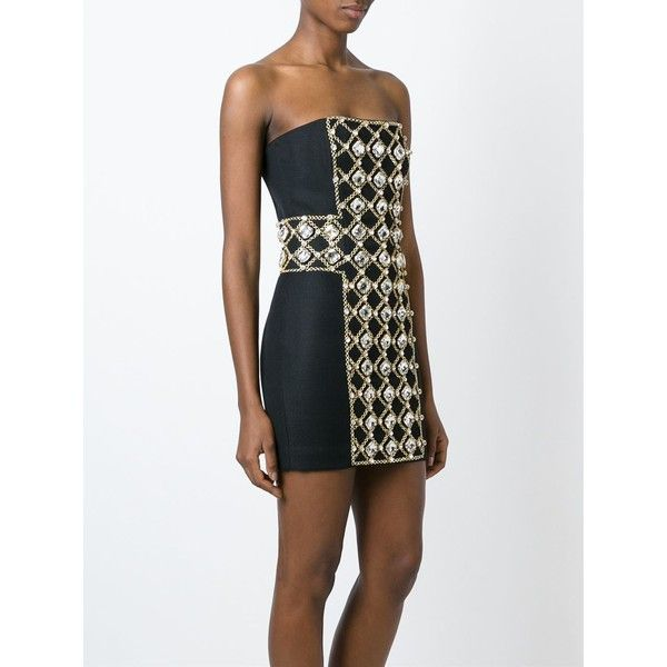 Balmain embellished dress ($2,295) ❤ liked on Polyvore featuring dresses, strapless dresses, short dresses, white strapless dress, embellished dress and short strapless cocktail dress