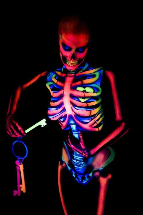 Dayglow skeleton body paint;;Here is a skeleton I would have no problems keeping in my closet , only to bring her out that is, ;-) Kip.