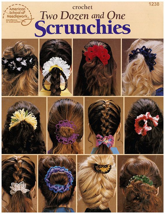 Crochet Hair Ribbon Pattern : Crochet Two Dozen and One Scrunchies Pattern Leaflet - $3.00