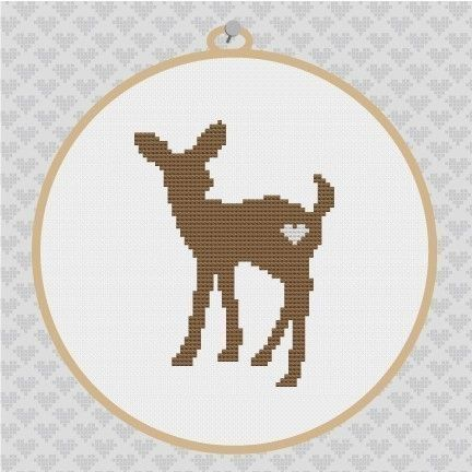 Deer Silhouette Cross Stitch PDF Pattern I by kattuna on Etsy, $3.50
