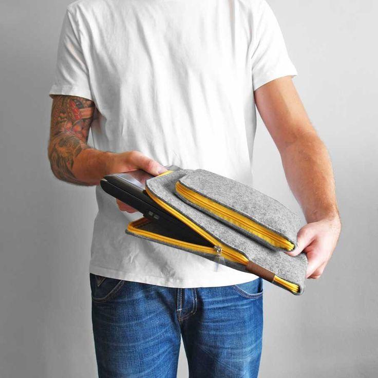 ETUI NA LAPTOPA I ZASILACZ 01 zółty zamek (sprzedawca: purol design), do kupienia w DecoBazaar.com #pokrowiec #nalaptop #laptop #yellow #felt #sleeve