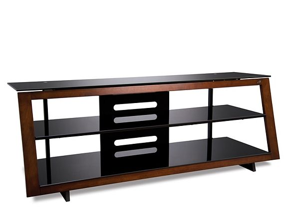 this verone tv console features a modern wood picture frame front in a medium espresso finish
