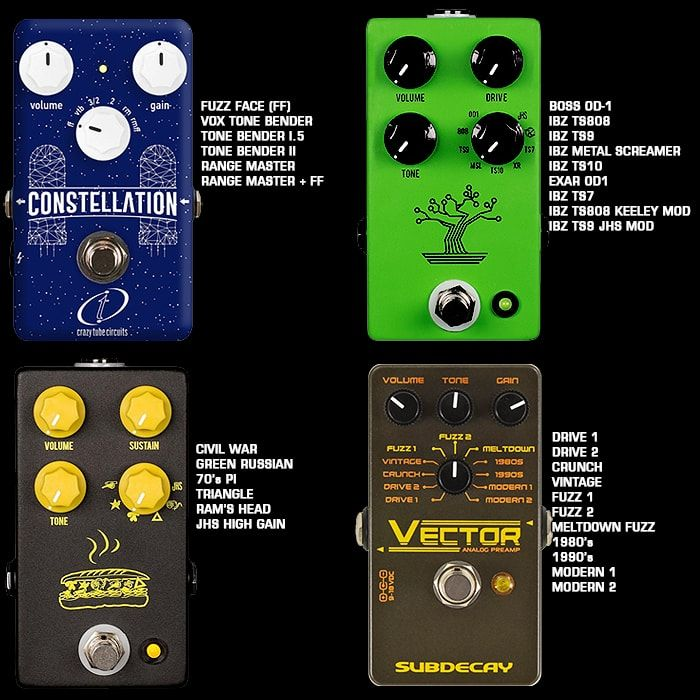 4 Great Analogue Multi Voice Fuzz And Overdrive Pedals